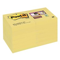 Bloczek samoprzylepny POST-IT® Super Sticky (622-12SSCY-EU), 46,7x46,7 mm, 12x90 kart., żółty