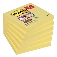 Bloczek samoprzylepny POST-IT® Super Sticky (654-P6SSCY-EU), 76x76mm, 5+1x90 kart., żółty, 1 bloczek GRATIS