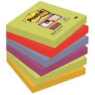 Bloczek samoprzylepny POST-IT® Super sticky (654-6SS-MAR), 76x76mm, 6x90 kart., paleta marrakesz